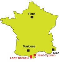 Font-Romeu et Saint-Cyprien sur la carte de France